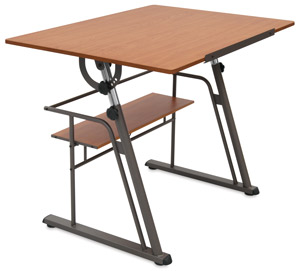 Zenith Drafting Table, Pewter Base / Teak Top