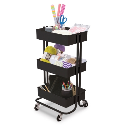 Rolling Carts, Matte Black(Supplies not included)