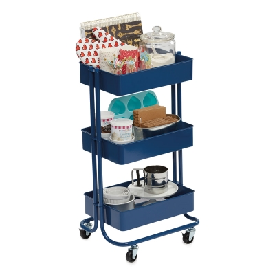 Rolling Cart, Blue(Supplies not included)