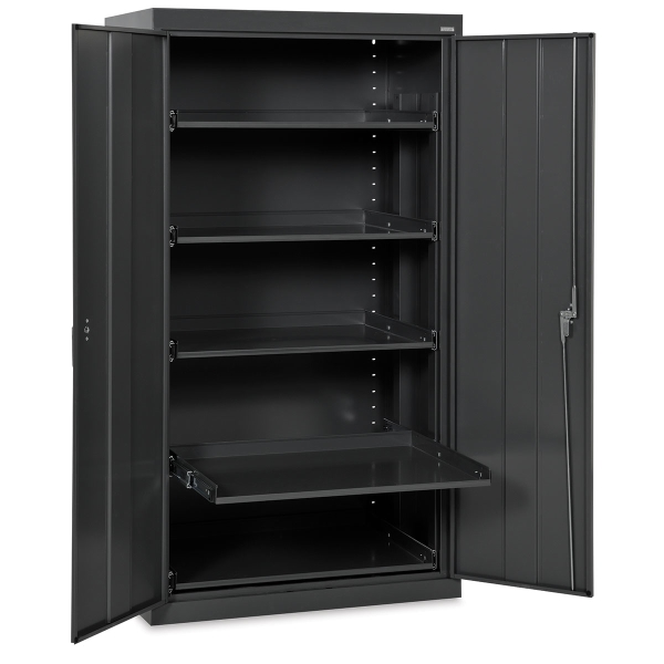 Pull-Out Shelf Storage Cabinet, Black