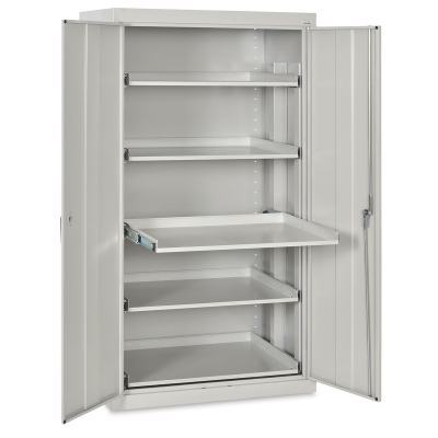 Pull-Out Shelf Storage Cabinet, Dove Grey