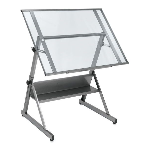 Solano Drafting Table, Steel/Clear Glass