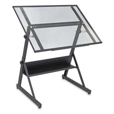 Solano Drafting Table, Charcoal/Clear Glass