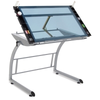 Triflex Drawing Table, Silver Frame/Blue Glass