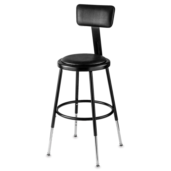 Adjustable Padded Stool with Backrest