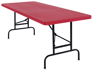 Adjustable Height Folding Table, Red