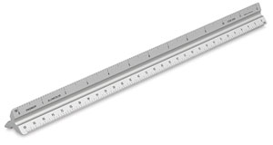 Solid Triangular Drafting Scale, Engineer 12""