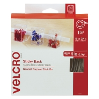 "Sticky Back Fasteners, Tape RollWhite, 3/4"" x 15 ft"