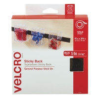 "Sticky Back Fasteners, Tape RollBlack, 3/4"" x 15 ft"