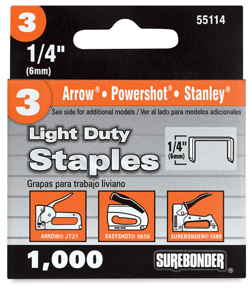 #3 Light Duty Staples, 1/4""