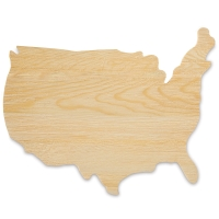 Unfinished Wood USA Map