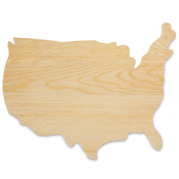 Unfinished Wood USA Map