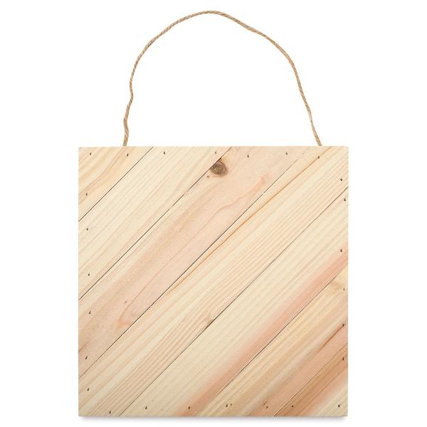 """Wood Plank Surface, Diagonal, 10"""" × 10""""<br>Natural Wood"""