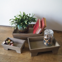 Footed Wooden Tray Set(Additional items not included)