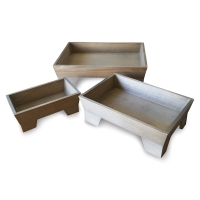 Footed Wooden Tray Set