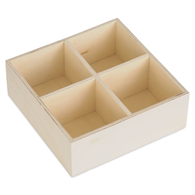Wood Desk Organizer, Four Compartment