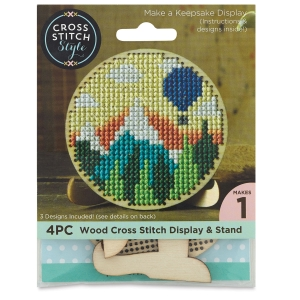Cross Stitch Style Wood Shapes and Stands