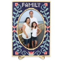 Wood Cross Stitch Display and Stand, Oval