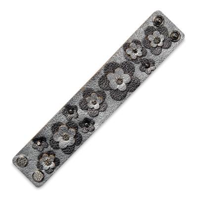 Leather Strip, Metallic Gunmetal<br/>(Gunmetal Flowers on Metallic Silver base)