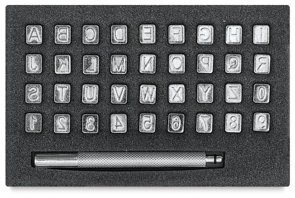 "1/4"" Alphabet and Numbers Stamp Set, 36 Stamps"