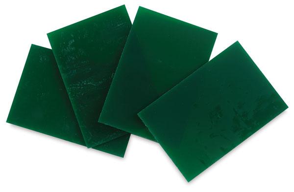 Green Opalescent Glass, Pkg of 4