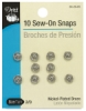 Sew-On Snaps, Pkg of 10, Nickel-Plated