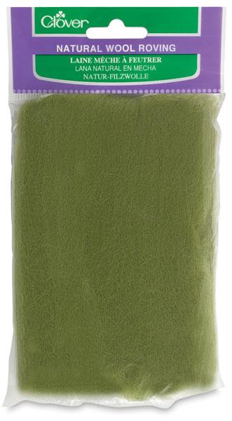 Natural Wool Roving, Moss Green