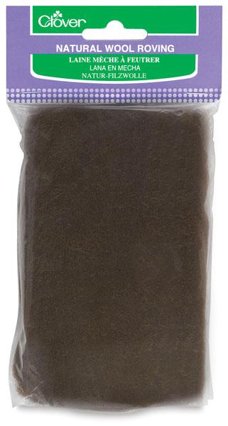 Natural Wool Roving, Brown
