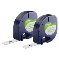 LetraTag Label Tape, 2 Rolls, White Paper