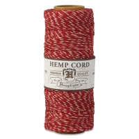 Hemp Cord Spool, Red with Metallic Gold