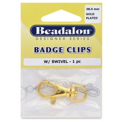 Large Badge Clip, Gold Plated