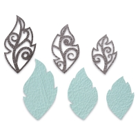 Leaf Charms, Set of 6(Example of cut leather)