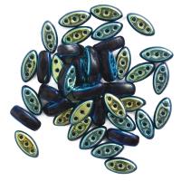 Czech Glass Cali Three-Hole Beads, Black/Aurora Borealis Reversible