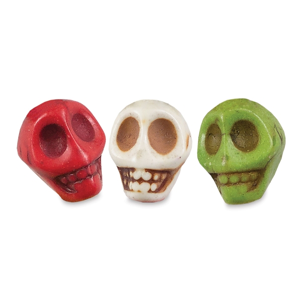 Semi-Precious Skull Beads, 10 mm