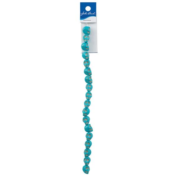 Semi-Precious Skull Beads, 10 mm<br/>Turquoise