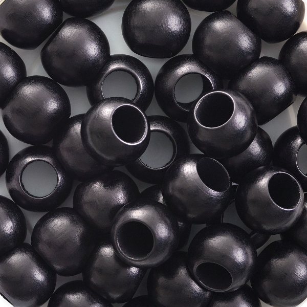 Round Large Hole, Black, 12 mm × 9.8 mm