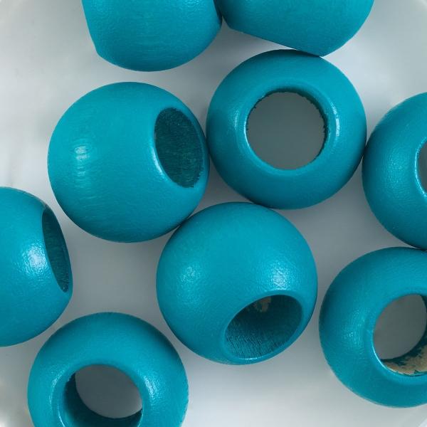Round Large Hole, Turquoise, 20 mm × 16 mm