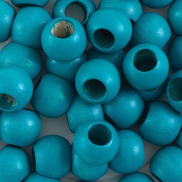 Round Large Hole, Turquoise, 12 mm × 9.8 mm