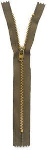 Olive Exposed Metal Zipper