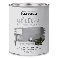 Glitter Interior Paint, Can, Sterling Silver