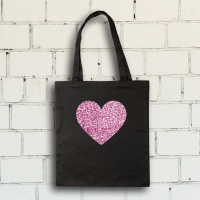 Glitter Iron-On Art, Pink Glitter HeartExample Artwork