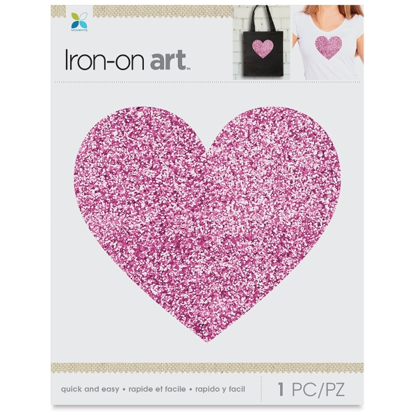 Glitter Iron-On Art, Pink Glitter Heart