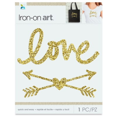 Glitter Iron-On Art, Gold Love