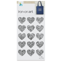 Glitter Iron-On Art, Silver Mini Hearts
