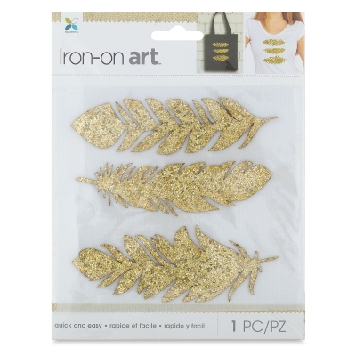 Glitter Iron-On Art, Gold Feathers
