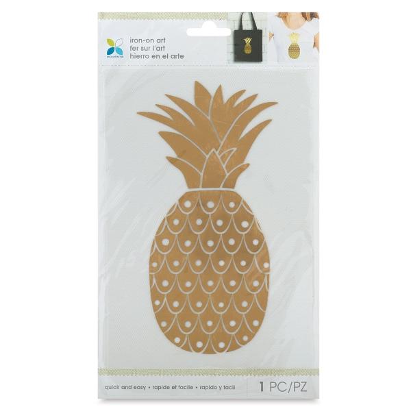 Foil Iron-On Art, Gold Pineapple