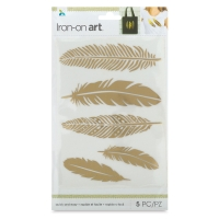 Foil Iron-On Art, Gold Feathers