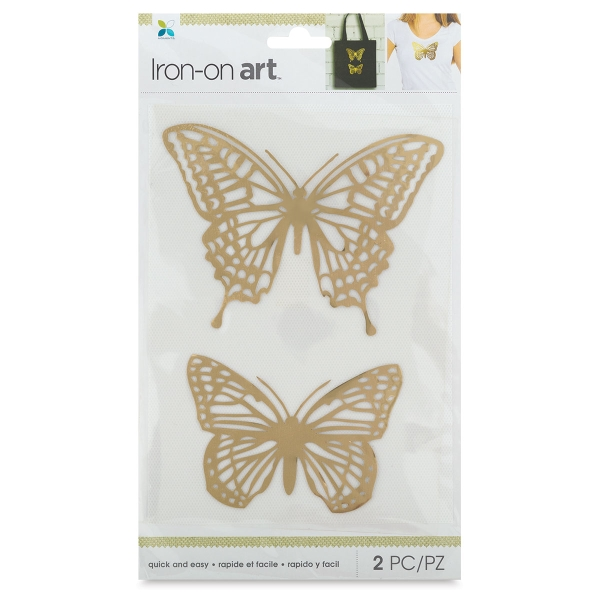 Foil Iron-On Art, Gold Butterflies