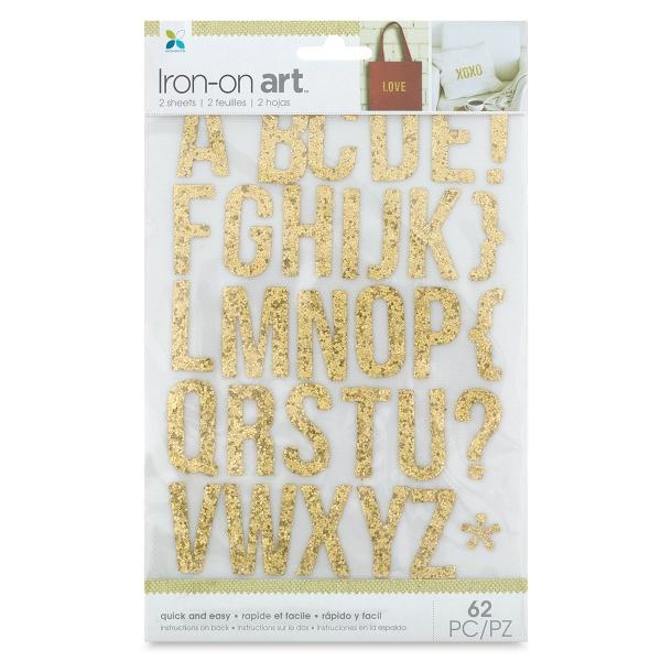 Glitter Iron-On Art, Gold Alphabet