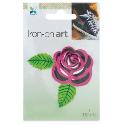 Four Color Iron-On Art, Pink Rose